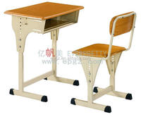 Adjustable Height Beech Color Moulded Board Top Student Desk and Chair with Silver Grey Metal Frame