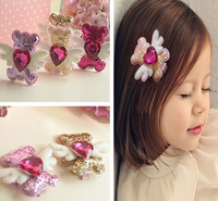 2015 Fashion girls little bear with wing hair clips barrettes hairpins for kids baby hair accessories cute heart hairclip
