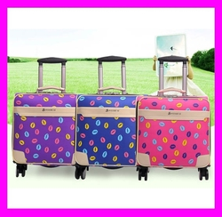 Wholesale best price cute design fashion leather girls travel luggage HD3391