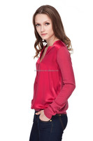 Ladies wool acrylic long sleeve pullover sweater with silk satin on front, 14Gauge