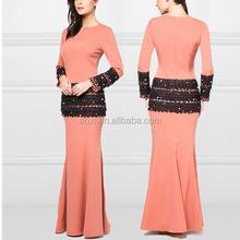 2014 Long sleeves peach lace beads elegant Mermaid dress Wholesale malaysia islamic clothing baju kurung and baju melayu
