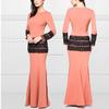 2015 Long sleeves peach lace beads elegant Mermaid Wholesale malaysia islamic baju kurung and baju melayu