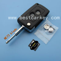 car remote shell for New style Peugeot 206 key cover flip modified remote key shell with 2 buttons