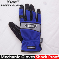 Synthetic leather skeleton Mechanic Glove with reflective material
