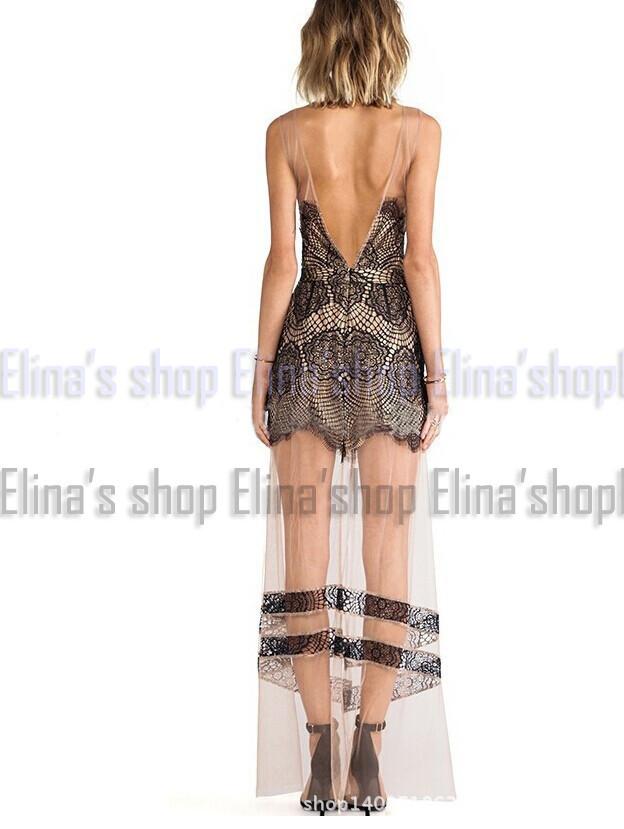 Элина новые моды vestido де Феста женщины желтый спинки без рукавов цветочные v-образным вырезом чистой сетки крючком платье макси полный с л м