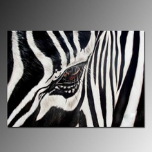 Hand-painted oil painting zebra eye realist style, high quality modern wall art deco black and white
