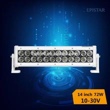 factory directly!72w ip68 14 inch led light bar 4v4 suv atv driving light