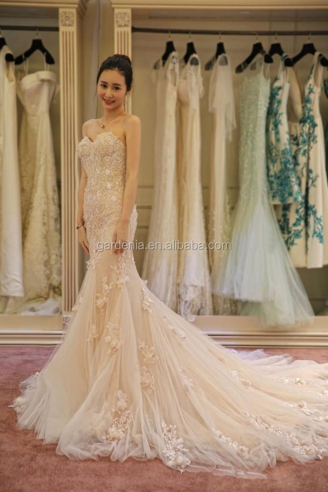 romantic blush pink bridal dress 2015 beach wedding gown