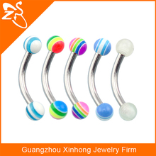 Fashion Eye Wear Custom Stainless Steel Acrylic Barbell Eyebrow Rings Body Piercing Jewelry
