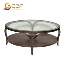 High grade round wood and glass coffee table