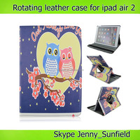 Tablet case owl cartoon 360 rotating leather case for ipad air 2 with plastic cradle