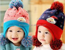 Christmas Gift Santa Claus SnowflakeJacquard Children's Acrylic Knit Pom Pom Hat