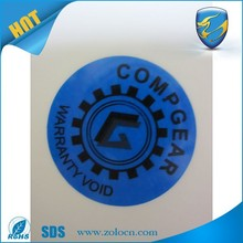 Adheisve warranty void stickers/VOID tamper evident printed label
