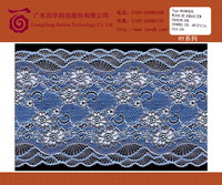 Elegant blue flower tricot lace trim fabric for fashion design lace baju kurung and other garments