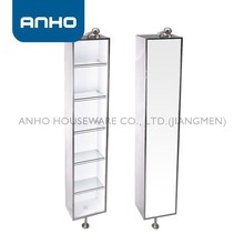 Anho 6 Tiers Rotating Stainless Steel Square Mirror Cabinet