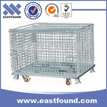 China Price Warehouse Storage Folding Wire Mesh Cage With 4 Wheels