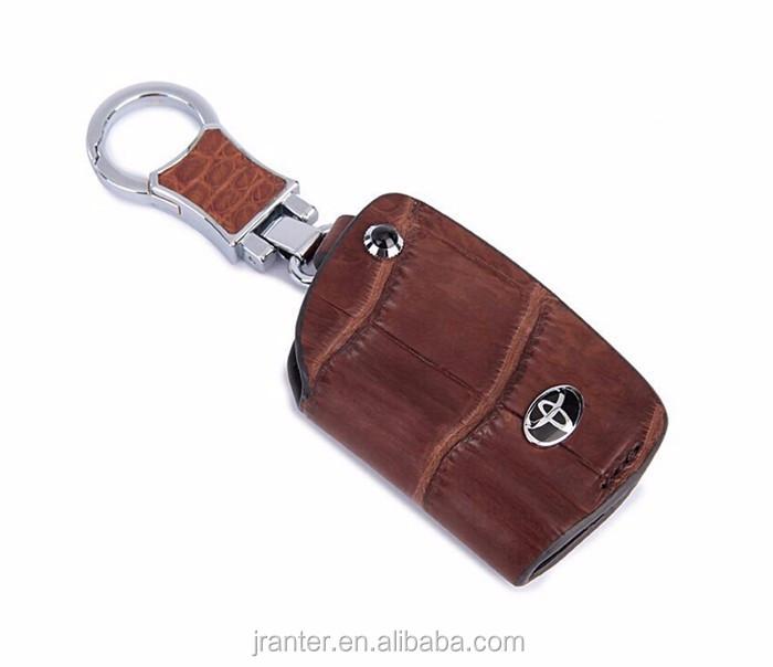 High-end customized genuine crocodile leather car key holder leather car key pouch with zipper_4