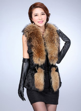 Black Color Rabbit And Raccoon Fur Vest From China