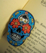 Sugar Skull Pin Badge Gothic Flower Day of the Dead Emo Retro Tattoo