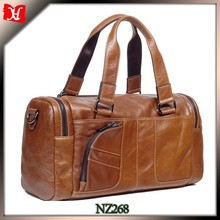 High Quality men brown Leather Travel Kit Bags for Sale crafting trolley luggage bag