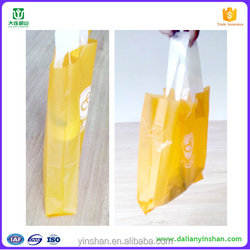 HDPE material yellow handle recycled plastic cosmetic bag for supermarket shopping bag