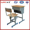 Stable student ergonomic adjustable wood single desk and chair