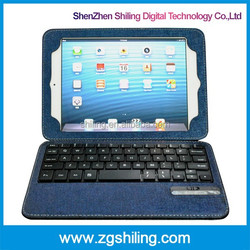 Detachable stand bluetooth wireless slim keyboard leather for ipad mini