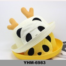 Summer cute paper straw children hat with antler and panda pattern for sunproof