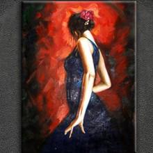 Spanish Flamenco handpainted dancing girl pallet knife oil painting decoration