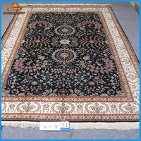 6x9 foot 183x274cm black art high quality pure silk hand knotted carpets