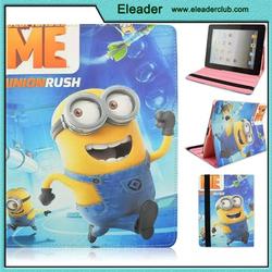 stand pu leather cute cartoon minion case for ipad 2 3 4