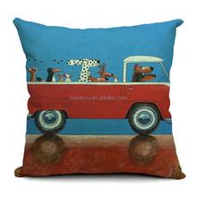 fashion new design linen cute decorative cartoon charater dog driving car printed sofa chair cushion cover