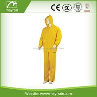 Mens Yellow Rain Jacket with Pants Clear Plastic PVC Rain Suit Hooded