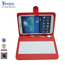 Veaqee 7 inch tablet pc leather keyboard case for samsung galaxy tab 3