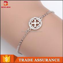 Best handmade four leaf clover design 925 sterling silver fashion women bracelet jewelry in 2015