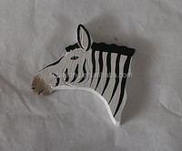 Mini carved wooden cut magnet animals head