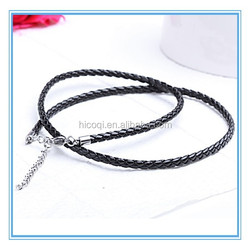 2015 hot selling popular fashion leather woven lecklace