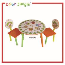 Kullanılan çocuklar masif ahşap masa, sıcak satış resimleri ahşap masa