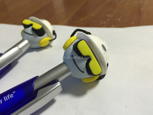 plastic ball pen with silicon head ,custom plastic cartoon pen