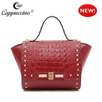 2015 new collection crocodile womens fashion 100% genuine leather handbags
