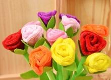 Novelty design simulation plush rose shape ballpoint pen