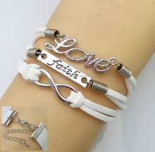 Braided White Blue Leather Suede Rope LOVE Infinity Bracelet Fashion Antique Women Alloy Gifts Charm Jewelry