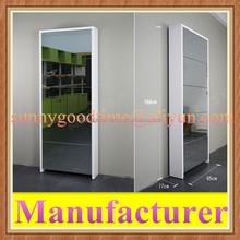 Wall mounted glass door wooden shoe cabinet