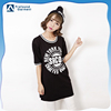 ladies t-shirt print design longline black t-shirt custom printing