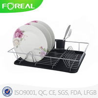 Chrome Plating Dish Dinner Plate Display Storage Rack With Tray