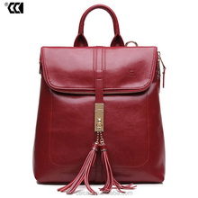 Best selling women leather backpack, Wine red color women leather backpack