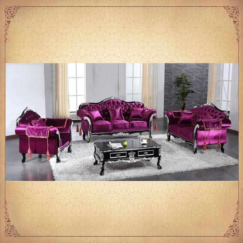 Bright Purple Color Fancy Vintage Sectional Sofa Set Lifestyle living ...