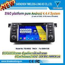 2DIN android car dvd android 4.4.4 HD 1024*600 for BMW E46 with 4 Core CPU(TID-M052)