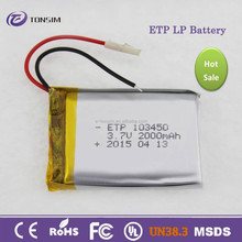 For operated wireless security camera li-ion battery 3.7v 2000mah