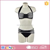 fashion women black and white bikini OEM swimwear nylon spandex swimsuit factory